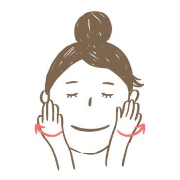 臉部按摩步驟1:手掌貼合臉頰,由內慢慢地按壓並往外托