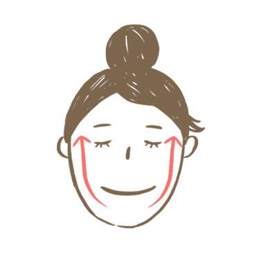臉部按摩步驟3:以四指從下巴,沿著臉部邊緣往上,托至耳邊