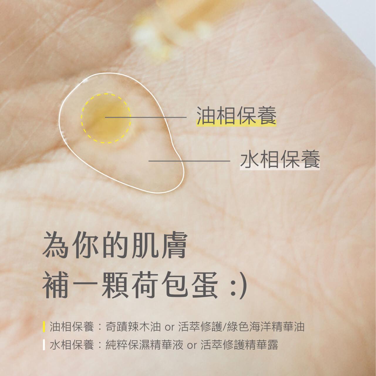 荷包蛋保養法:手心先滴 2-3 滴精華液,再於中心低 1 滴精華油,彷彿一顆荷包蛋,再搓勻混合後輕拍全臉吸收,是適合油性肌膚的保養步驟