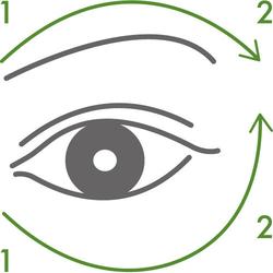 再以指關節,在顴骨和眉骨上方重複滑動按壓,幫助眼周循環